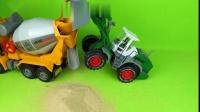 儿童早教水泥搅拌车、大卡车、翻斗车、大铲车玩具修花园