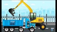 强大的工程车队钻头挖掘机、自卸卡车、挖掘机、水泥搅拌车游戏