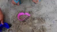 小萝莉带宝宝玩沙子认识学习颜色