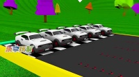 五辆红色赛车准备从赛道出发