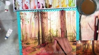02.How to paint a Red Forest in Watercolors