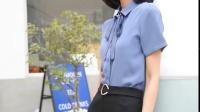 衬衫女2019夏季新款短袖蝴蝶结修身气质工作服雪纺衫衬衣职业正装-tmall.com天猫