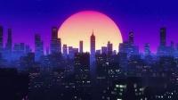 v298 2k画质粉色卡通城市夜景月亮气氛穿梭 城市建筑楼群剪影 演艺舞台酒吧夜店晚会视频LED大屏幕背景VJ素材大屏幕背景 儿童节 六一