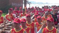 南墩龙舟队和舞蹈队欢送龙舟下水庆典