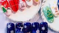 新款美甲饰品贴纸圣诞节雪花圣诞老人麋鹿铃铛3d立体指甲贴花持久