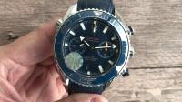 OM欧米茄海洋宇宙蓝面腕表9900双秒独立计时机芯