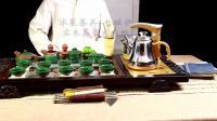 龙寅 布袋佛浮雕龙冰裂茶具全自动套装整套茶壶茶海茶台黑檀色纹茶托盘电热磁炉茶道六君