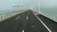 港珠澳大桥穿梭巴士 珠海至香港一路上美丽海景 开阔整洁的道路_高清