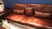 尚木元素 新中式实木沙发组合 黑胡桃木沙发真皮沙发