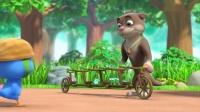 萌鸡小队:萌鸡们看到脚踏车,游戏都不玩了,都跑过去看!