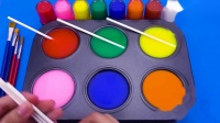 魔法染料盘魔力变小猴子棒棒糖,循环创意萌宝学习认识颜色啦
