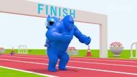 迷你特工队益智动画弗大猩猩背着弗特一起参加赛跑比赛