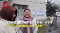"""【河南一 学生期末纷纷绕行:害怕重修[思考]】在河南新乡医学院,一条道路被命名为""""重修路""""。学生称这条路是大家抄近道后,在学生脚印基础上重修..."""