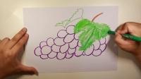 看视频学画画之葡萄,5分钟学会一幅画,高鳍红剑作品