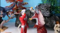 贝利亚穿着魔龙铠甲带着怪兽救兵来了抓住了泰罗和爱迪奥特曼
