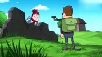 搞笑吃鸡动画:大魔王一人追着一群人跑,被萌妹的歌声制裁