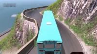 车祸模拟:大巴车和校车高速急转弯不减速冲向悬崖,拟真车祸模拟