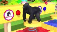儿童益智视频:猩猩、老虎一起参加运动会,它们一起玩儿的很开心