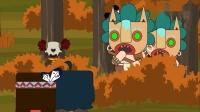 迷你大陆动画第73集:卡卡、村长假扮野人吓人被怪物野萌宝识破!