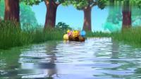 萌鸡小队:小鸭跑进水里,萌鸡想跟他们一起玩,可萌鸡不会游泳