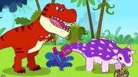 宝宝巴士:最棒猎手霸王龙出门打猎,惨遭强壮甲龙坚硬的尾锤教训,霸王龙牙齿好疼啊