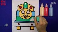 亲子游戏托马斯胶画智力手工 托马斯小火车奥特曼儿童胶画教程