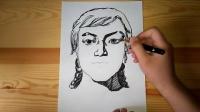 速写头像画法女青年正面像跟李老师学画画