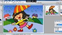 儿童画雨中撑雨伞的快乐女孩2电脑上色幼儿绘画(3-5岁)跟李老师学画画