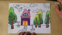 可爱的小房子色粉上色1(3-5岁)幼儿美术跟李老师学画画