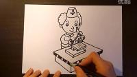 医生用显微镜在工作儿童画跟李老师学画画