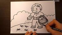 儿童画小朋友在田园种植与施肥儿童画跟李老师学画画