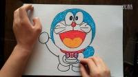 哆啦A梦英式蝴蝶结儿童卡通色粉画跟李老师学画画