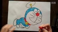 哆啦A梦-头顶飞行器儿童卡通色粉画跟李老师学画画