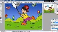 儿童画捉蝴蝶的男生2电脑上色跟李老师学画画