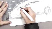 如何用马克笔和色粉表现三菱汽车效果图教程1