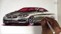 最新宝马4系汽车马克笔上色视频教程