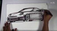 保时捷911汽车草图手绘视频