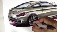 宝马4系汽车设计马克笔是手绘上色视频教程2
