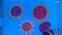 """儿童画太阳的画法2""""根""""李老师学画画"""