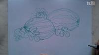 """儿童画西瓜的画法""""根""""李老师学画画"""