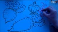 """儿童色粉画萝卜、葱头、樱桃的画法""""根""""李老师学画画"""