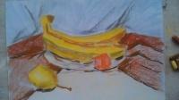 """色粉静物水果香蕉桔子梨画法3-6年级适用""""根""""李老师学画画"""