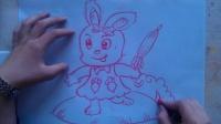 """卡通色粉画小兔子""""根""""李老师学画画"""