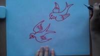 儿童画画燕子两只根李老师学画画