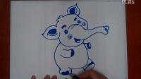 儿童美术卡通画小象根李老师学画画