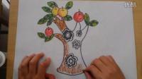 儿童画苹果树2根李老师学画画