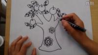 儿童画苹果树1根李老师学画画