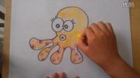 儿童色粉画可爱的张鱼根李老师学画画