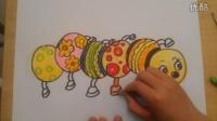 儿童色粉画彩色的毛毛虫跟李老师学画画