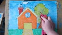 儿童画简笔画简单房子和树微课跟李老师学画画2